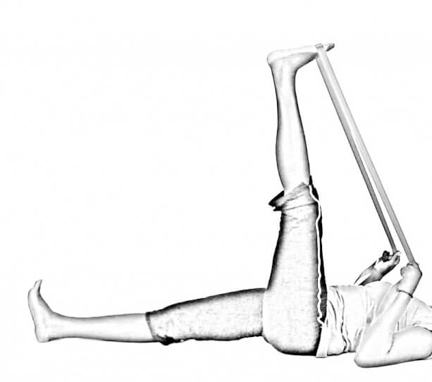 Supine Hamstring Stretch with Strap-2