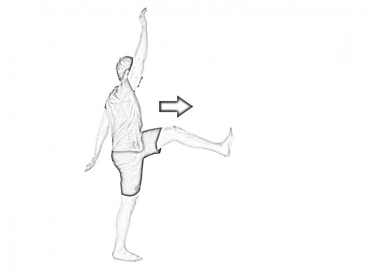 Straight leg walk with arm lift-1